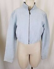Wilsons Leather Cropped Zip Up Moto Cafe Racer Jacket Womens L Powder Light Blue