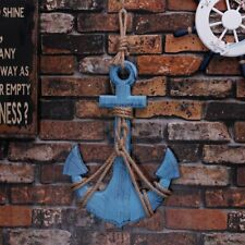 Blue Wooden Nautical Decor Anchor Wall Hanging Ornament Plaque, 18''H x 12.5''W