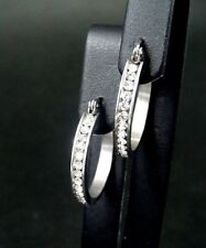 small stainless steel hoop earrings with cubic zirconia crystals 1828