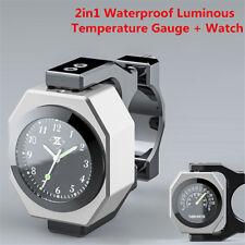2in1 Waterproof Luminous Motorcycle Handlebar Clock Time Watch+Temperature Gauge