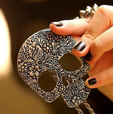 Bronze Punk Vintage Gothic Skull Fashion Women Rock Pendant Necklace Long Chain