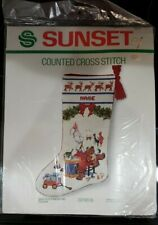 Sunset Cross Stitch kit Christmas Stocking  Santas Finishing Touch teddy bear