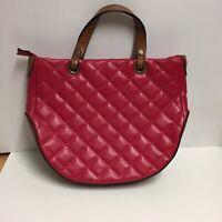 Yang Yang Red Handbag With Brown Trim Quilted Look Inner Pocket Phone Pocket