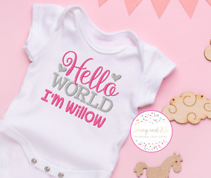 Personalised Baby Vest Bodysuit, Embroidered Clothes, Pink and Silver Girl Gift,