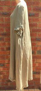 A Line Khaki Frill Sleeve & Hem Linen Dress NWT sizes 12 14 16 18 20