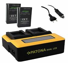 LCD DUAL Ladegerät + 2x Premium Patona Akku BLN-1 für Olympus Pen-F