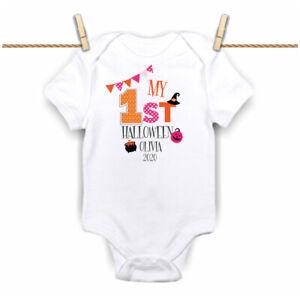 First 1st Halloween 2020 Pumpkin Pink Baby Grow,Bodysuit, Vest Bunting New