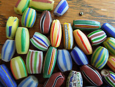 Trade Beads vintage African Multi colored  mixed batch striped 55 beads