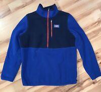 Vintage LL Bean Navy Blue, Royal Blue Fleece 1/4 Red Zip Pullover Mens Large