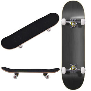 "ROBBI Blank Complete Skateboard Stained BLACK 7.75"" Skateboards, Ready to ride"