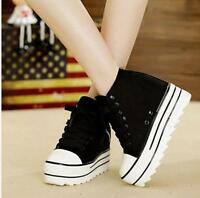 Casual Women Platform Shoes Fashion High Top Wedge Sneakers Lace Up Sports Shoes