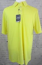 Men's Callaway Bayer Yellow Dri-Fit Golf Polo Shirt Large New