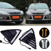 Pair Daytime Running Light Turn Signal LED DRL Lamp For Ford Focus MK3 2012-2014