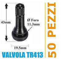 50 Valvole TR413 per pneumatici tubeless auto e moto (Corte) cerchi lega e ferro