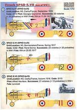 Print Scale Decals 1/72 SPAD S.VII ACES French World War I Fighter