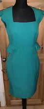 ASOS Emerald Green Wiggle Dress Size 12 ?10 Peplum 40s 1950 Style Mad Men Pencil