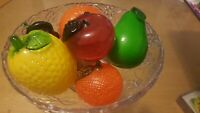 "Glass Fruit,  hand blown, glass art, 6 fruits for centerpiece 3""-5"" diameter,"