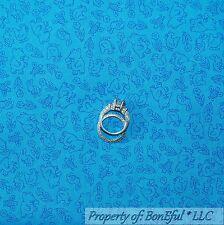 BonEful Fabric FQ Cotton Quilt Blue Babar Elelphant Bunny Bee Flower Chicken VTG