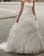 2016 Long Organza Wedding Dress Bridal Gown Custom Size 8 10 12 14 16 18 +++