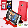 RED Premium Wallet Flip Stand Leather Case Cover F HTC ONE M7 810e +SP +Stylus