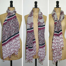 Laura Ashley Maroon Crazy Paisley Wool Mix Floaty Scarf Shawl Wrap Stole Cravat