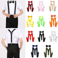 Leather Clip-on Suspenders and Bow Tie Matching Colors Elastic Adjustable Braces