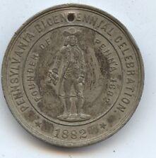 Exonumia 1882 Penn. Bicentennial Medal 31Mm (#7691) Laetitia House Erected 1682.