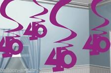40th Birthday Pink Hanging Foil Swirls Decorations