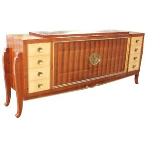 Spectacular French Art Deco Palisander And Sycamore Sideboard  Circa 1935s AS IS