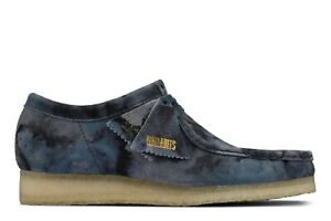 NEW MENS CLARKS ORIGINALS WALLABEE LIMITED EDITION BLUE CAMO SUEDE LOW SHOES