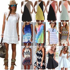 Damen Strandkleid Mini Kleider Partykleid Freizeit Tunika Sommerkleid Gr.34-50 A