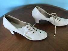 Antique White Leather Shoes Heels Womens Lace Up