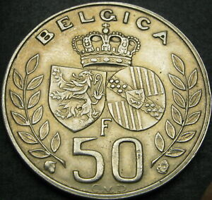 BELGIUM 50 Francs 1960 - Silver - King Baudouin's marriage - XF - 2517 ¤