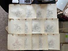 Lot Of 4 Art Davis 1938 The Foolish Bunny Cartoon Animation Drawing Cel