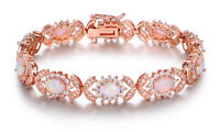 Sevil 18K Rose Gold Plated Created Opal with Crystals Tennis Bracelet