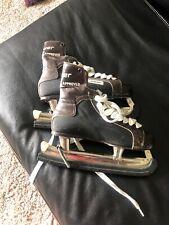 VINTAGE BAUER BLACK N BROWN HARD SHELL ICE HOCKEY SKATES MEN SZ 10 NHL APPROVED