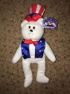 """Limited Treasures Collectible Bear """"Sam"""" Premier Edition Red White & Blue Bear"""