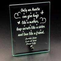 Auntie Sentiment Personalised Engraved Glass Plaque OAA-GP