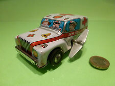 TIN TOYS BLECH JAPAN - AMBULANCE - WHITE - GOOD CONDITION - WIND UP