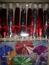 RED & SILVER FOIL COCKTAIL UMBRELLAS  PACK OF 20 (10 of EACH)