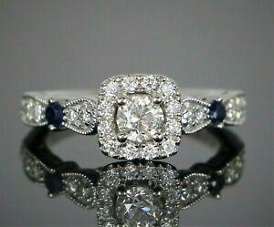 $2,699 Vera Wang Love 14K White Gold Round Cut Diamond Sapphire Engagement Ring