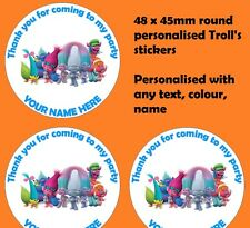 48 Personalised Trolls Birthday Party Stickers Thankyou Sweet Cones Bags Seals