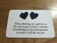 Heart Embellished Poem Cards Asking For Cash Toward Honeymoon - Pack of 25