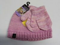 TODDLER GIRLS CUDDL DUDS PINK KNIT HAT AND MITTENS SET NEW NWT #4574