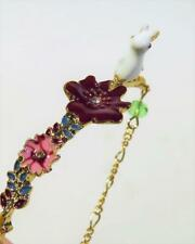 CG6095...ENAMELLED BRACELET - RABBIT & FLOWERS -  FREE UK P&P
