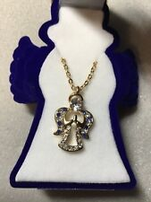 angel necklace in blue velour angel gift box blue and clear stones 16in chain