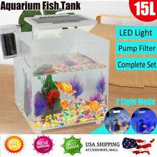 New listing Led Acrylic Betta Fish Tank Mini Desktop Aquarium Water Lamp Filter Breeding Box