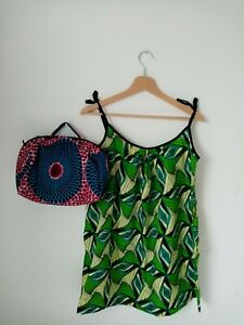African Wax Fabric Top And Bag