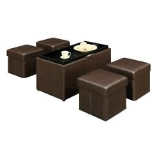 Convenience Concepts Designs4Comfort Manhattan Bench, 4 Ottomans, Brown - 143008