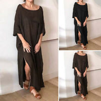 Women Solid Crew Neck Casual Vintage Dresses Long Maxi Dress Plus Size Loose New